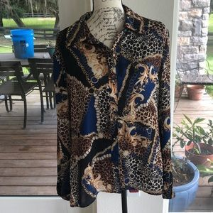 NW Blue and Gold Erie Signature Button up Blouse